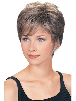 Wigs For The Elderly Lady Cropped Length Wavy Style Grey Cut