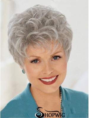 Discount Wigs With Capless Grey Cut Wavy Style Short Length