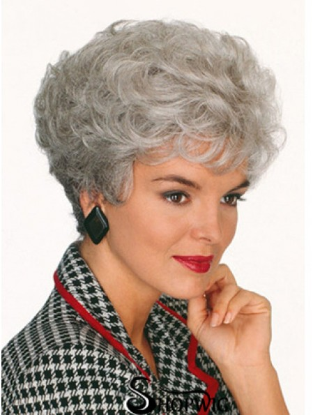 Professional Wigs With Capless Curly Style Short Length Grey Cut