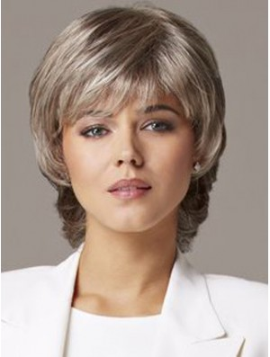 Wavy Capless 10 inch Sleek Short Grey Wigs