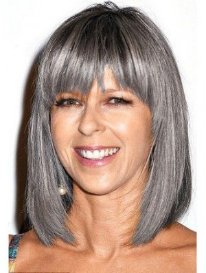 Straight Lace Front 12 inch Modern Shoulder Length Grey Wigs