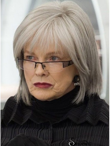 High Quality Wigs Chin Length Straight Style Grey Cut