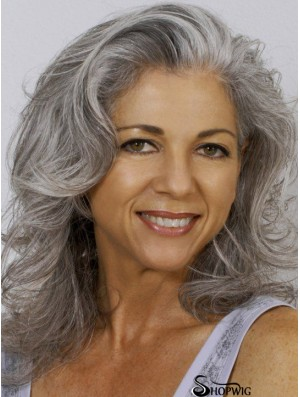 Wavy 100% Hand-tied 14 inch Exquisite Shoulder Length Grey Wigs