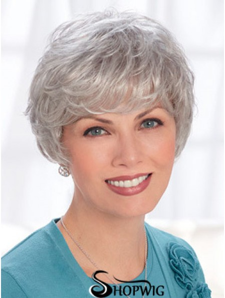 Lace Front Wigs Human Hair Short Length Wavy Style Grey Cut