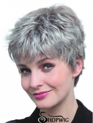 Synthetic Cropped Straight Capless Elderly Lady Wigs