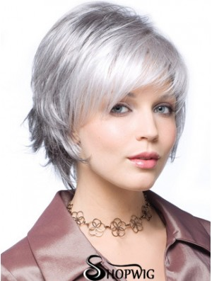 "Straight Capless 8"" Beautiful Short Grey Wigs"