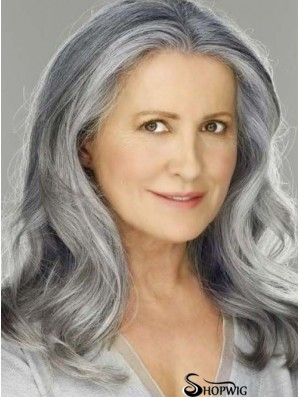"Wavy Lace Front 16"" Best Shoulder Length Grey Wigs"