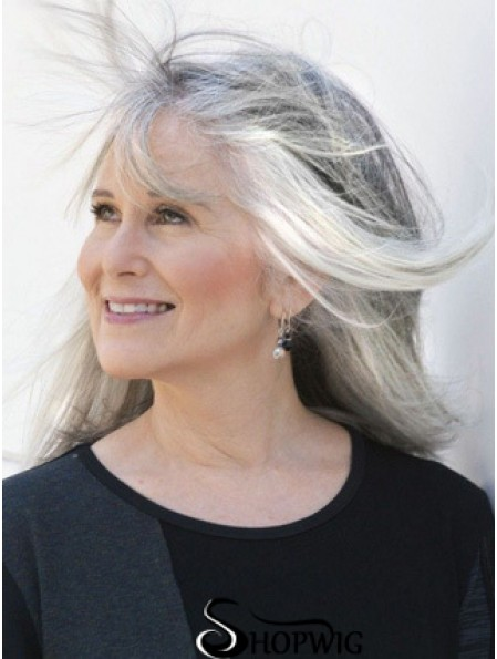 """Straight Lace Front 18"""" High Quality Long Grey Wigs"""