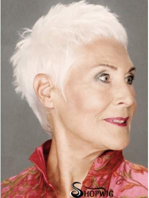 Straight Capless 8 inch Discount Short Grey Wigs