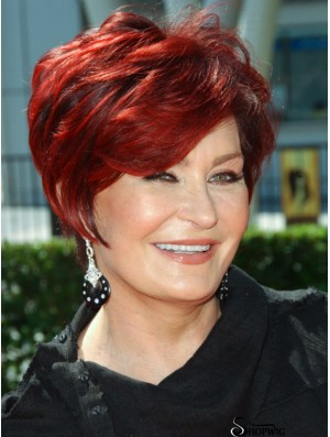 Wigs UK Human Hair With Capless Wavy Style Red Color