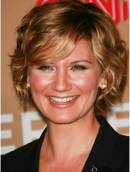 Hairstyles Brown Short Wavy With Bangs 10 inch Human Hair Wigs