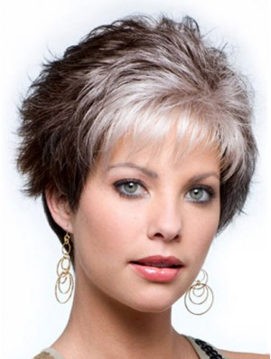 Capless Cropped Grey Wavy Synthetic Wig For Elderly lady