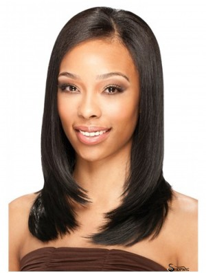Brazilian Lace Front Shoulder Black Straight U Part Wig
