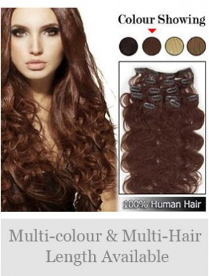 High Quality Auburn Wavy Remy Human Hair Clip In Hair Extensions