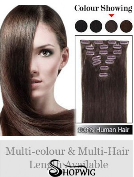 Designed Auburn Straight Remy Human Hair Clip In Hair Extensions