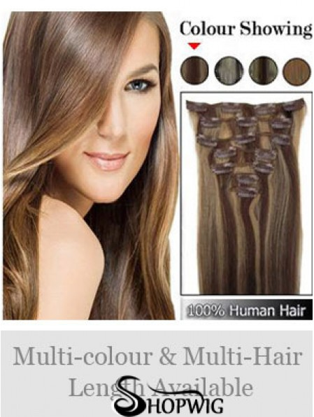 Beautiful Brown Straight Remy Human Hair Clip In Hair Extensions