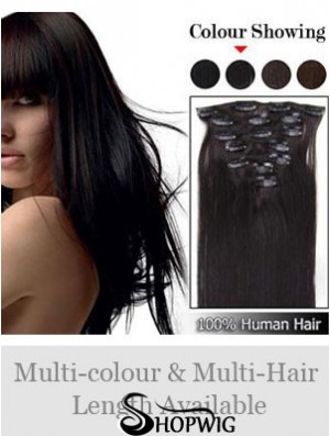 Cheap Brown Straight Remy Human Hair Clip In Hair Extensions