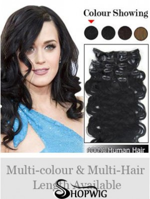 Online Black Wavy Remy Human Hair Clip In Hair Extensions
