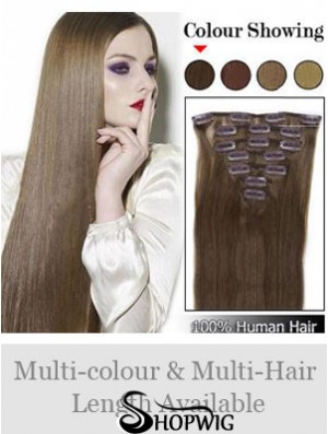 Best Brown Straight Remy Human Hair Clip In Hair Extensions