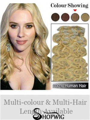 No-Fuss Blonde Wavy Remy Human Hair Clip In Hair Extensions