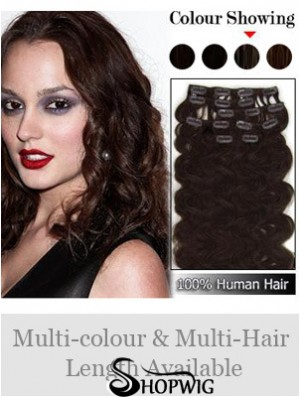 Exquisite Auburn Wavy Remy Human Hair Clip In Hair Extensions