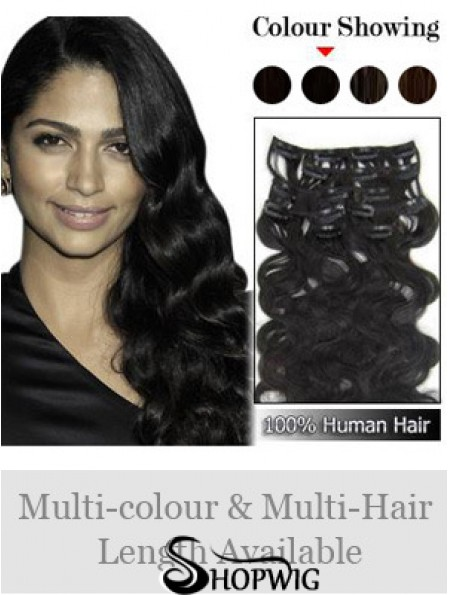 Great Black Wavy Remy Human Hair Clip In Hair Extensions