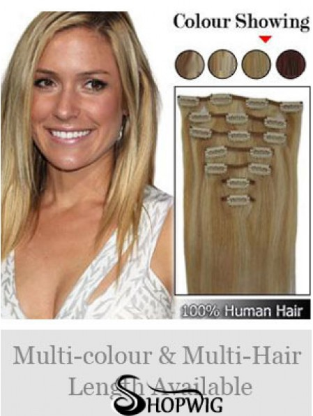 Durable Blonde Straight Remy Human Hair Clip In Hair Extensions