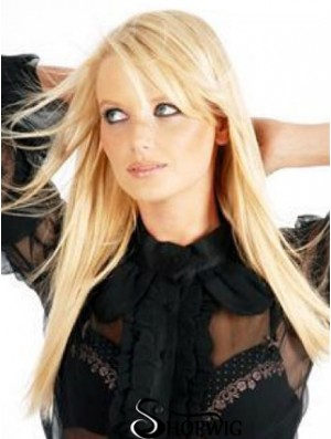 Cheapest Blonde Straight Remy Human Hair Clip In Hair Extensions