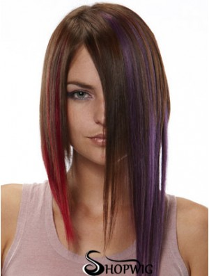 Modern Red Straight Remy Human Hair Clip In Hair Extensions