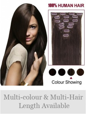 Clip In Human Hair Extensions Full Head Brown Color Straight Style