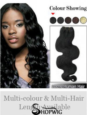 Wavy Remy Human Hair Black Amazing Weft Extensions