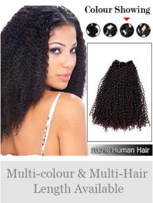 Curly Remy Human Hair Brown Natural Weft Extensions