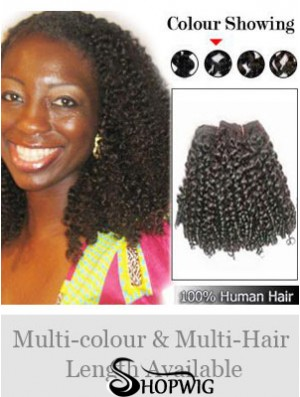 Curly Remy Human Hair Black Popular Weft Extensions