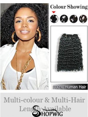 Curly Remy Human Hair Black Fashion Weft Extensions