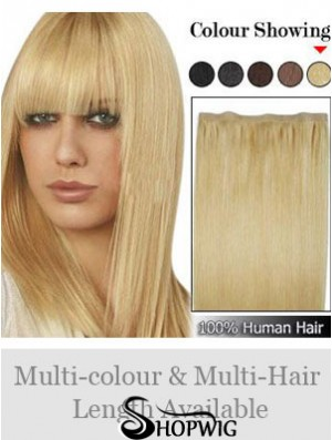 Straight Remy Human Hair Blonde Suitable Weft Extensions
