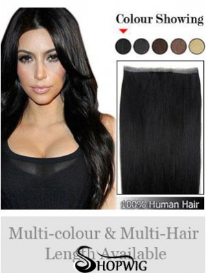 Straight Remy Human Hair Black Good Weft Extensions
