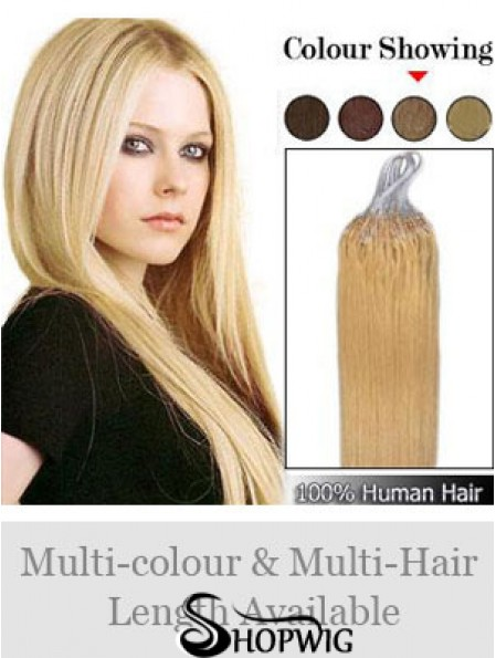 Sleek Blonde Straight Micro Loop Ring Hair Extensions