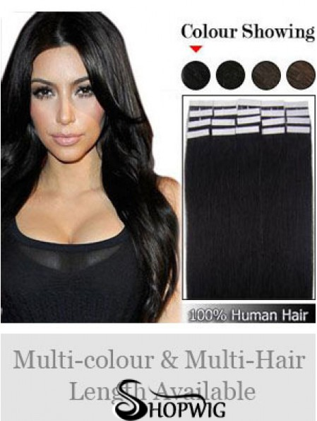 Black Straight Comfortable Remy Human Hair Tape In Hair Extensions