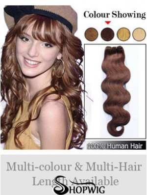 Wavy Remy Human Hair Auburn Cheap Weft Extensions