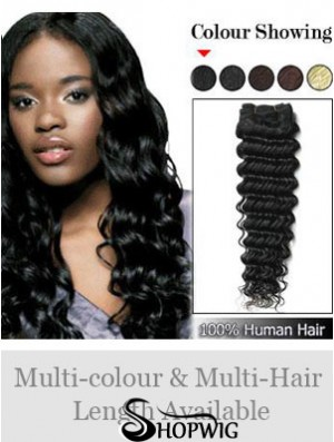 Wavy Remy Human Hair Black Designed Weft Extensions
