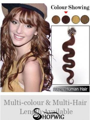 New Auburn Wavy Micro Loop Ring Hair Extensions
