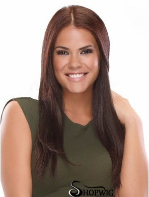 Soft Brown Straight Synthetic Clip In Hair Extensions