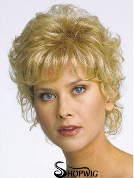 Short Curly Blonde Flexibility Synthetic Half Wigs
