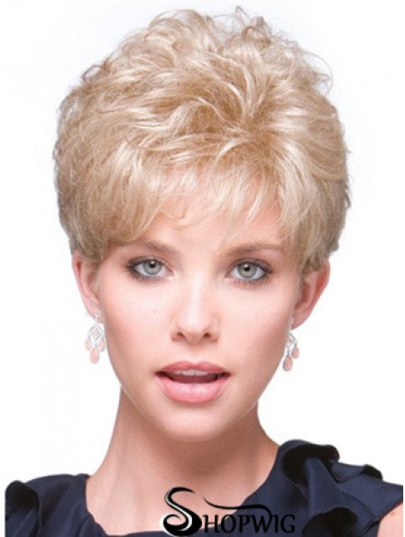 Short Curly Blonde Fabulous Synthetic Half Wigs