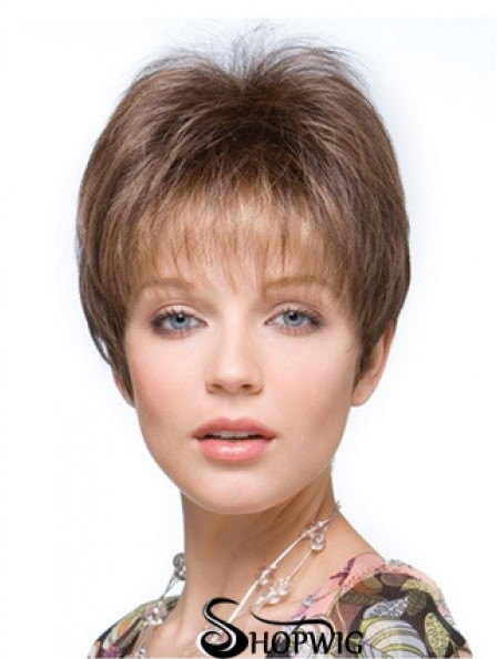 Falls Hairpieces Straight Style Brown Color Cropped Length